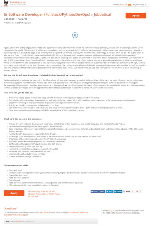 Senior Software Developer (Fullstack / Python / DevOps) job at