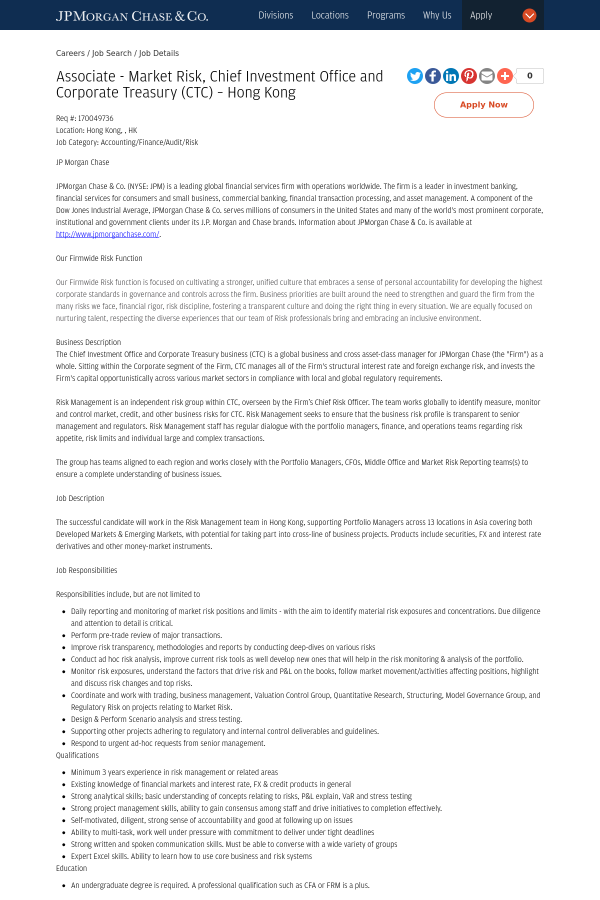 jp morgan chase - Job Description Treasury Manager