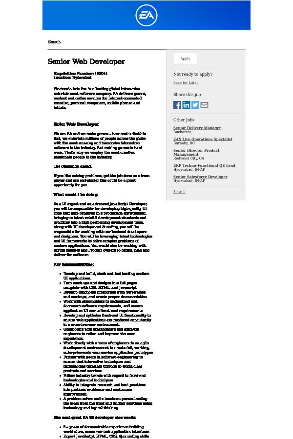 Senior Web Developer job at EA Sports in Hyderabad, India - 7390490 ...