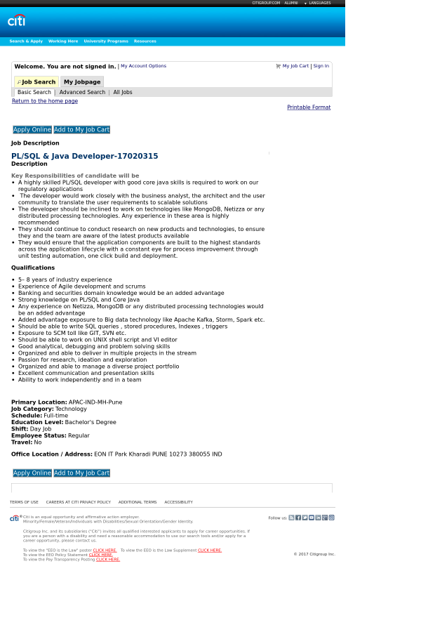 PL SQL Java Developer job at Citi in Pune India – Java Developer Description