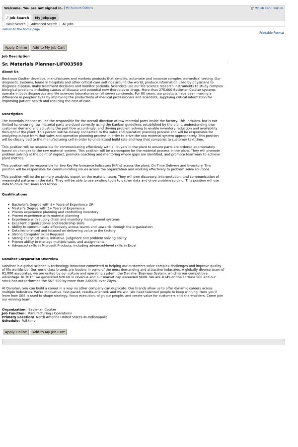 material planner job description