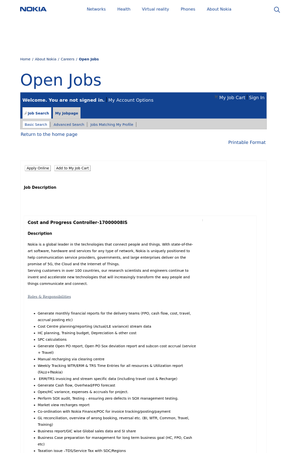 Cost and Progress Controller job at Nokia in Noida, India ...