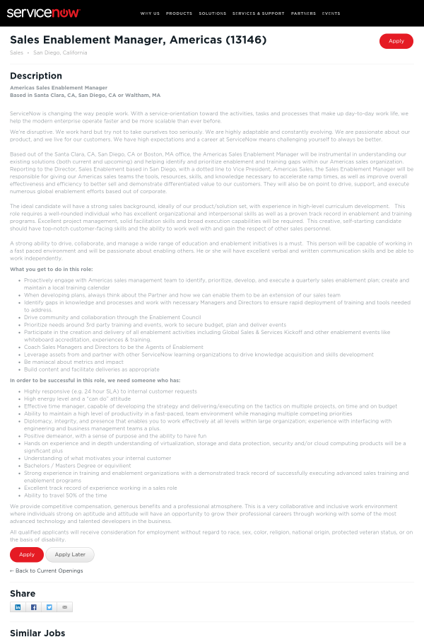 Sales Enablement Manager, Americas job at ServiceNow in San Diego ...