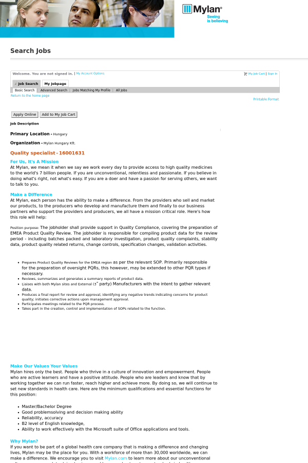 Quality Specialist job at Mylan in Hungary - 7620525