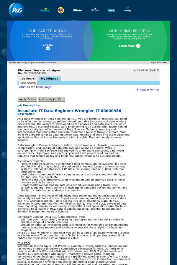 Associate IT Data Engineer - Wrangler job at Procter & Gamble in ...