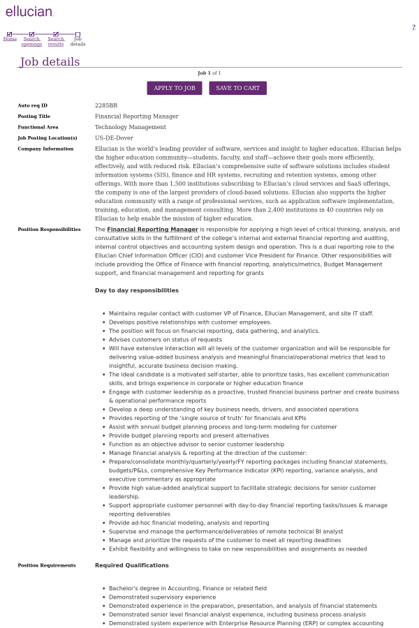 Financial Reporting Manager job at Ellucian in Dover, DE | Tapwage ...
