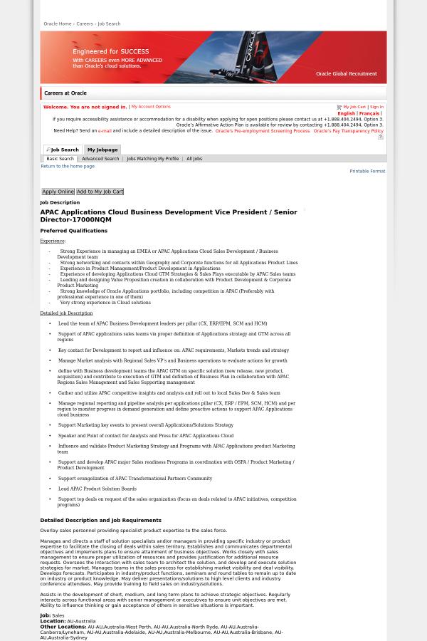 oracle - Regional Sales Director Job Description