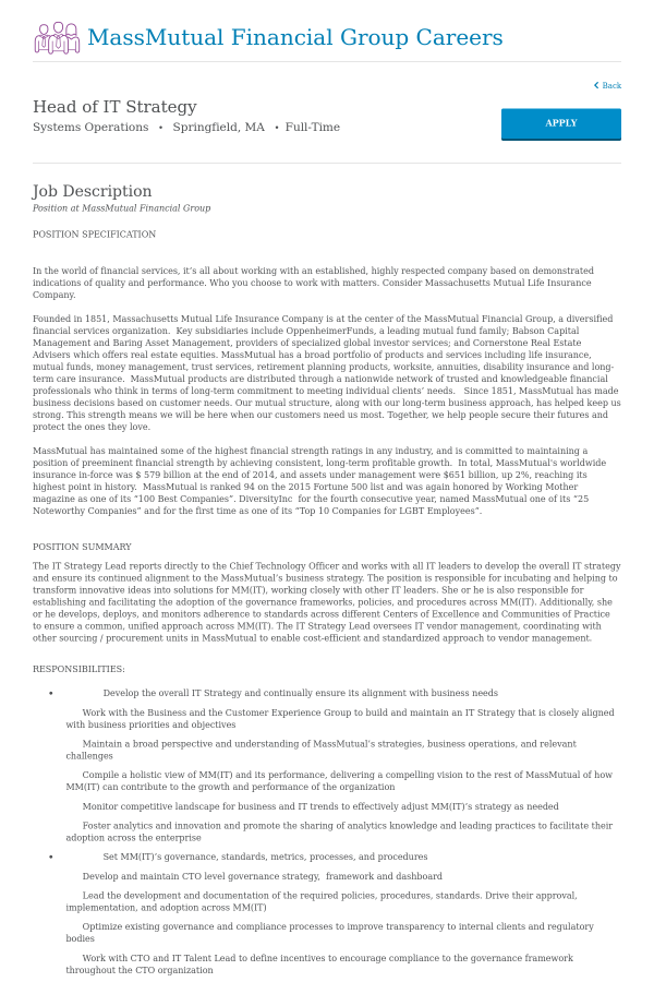 Head of IT Strategy job at MassMutual in Springfield MA – Cto Job Description