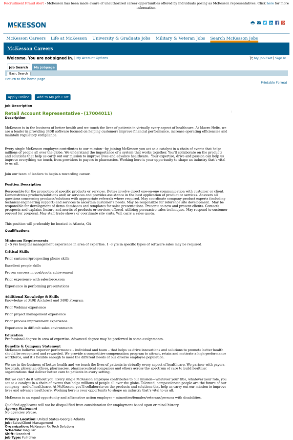 Retail Account Representative job at McKesson in Atlanta, GA ...