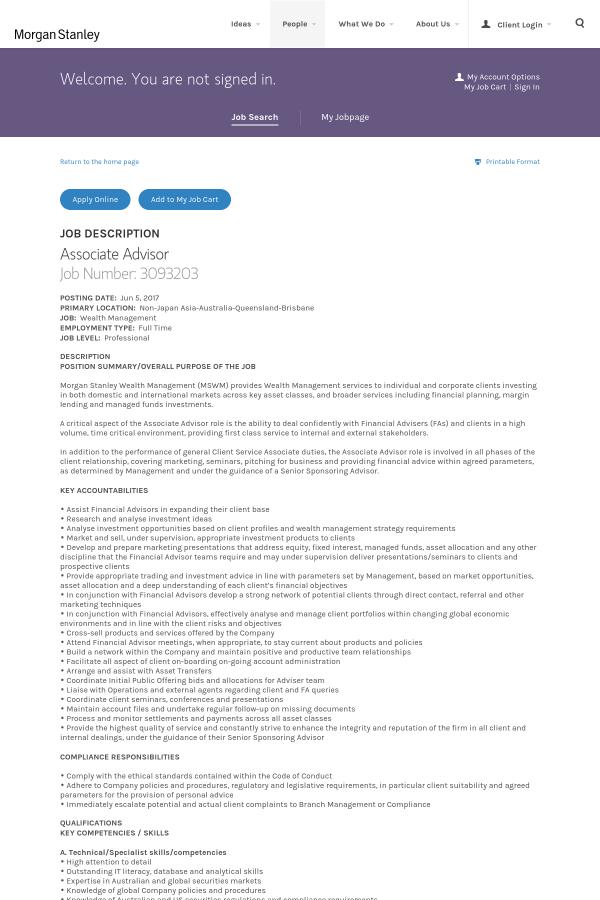 Associate Advisor job at Morgan Stanley in Brisbane, Australia ...