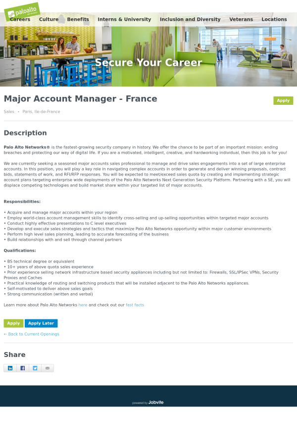 Major Account Manager - France job at Palo Alto Networks in