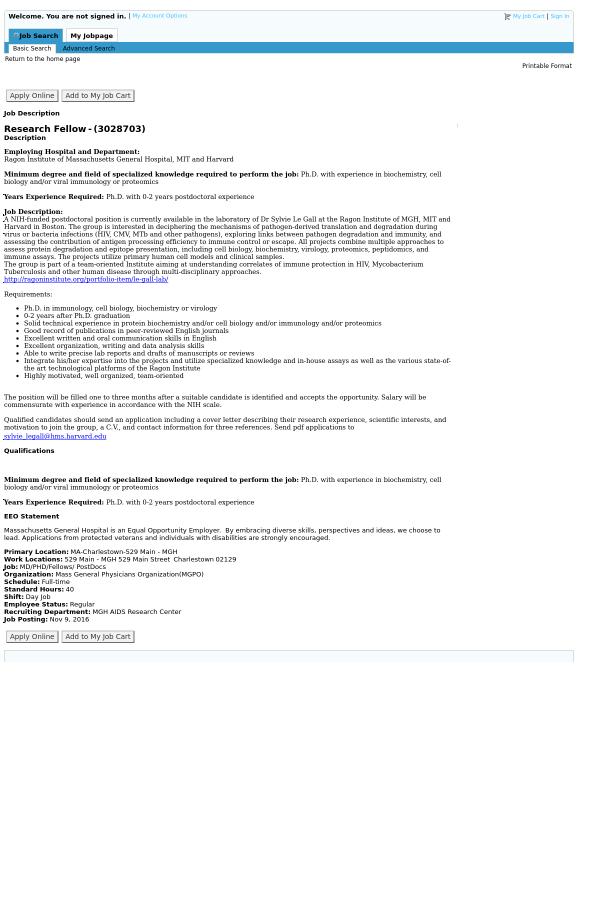 Research Fellow job at Massachusetts General Hospital in