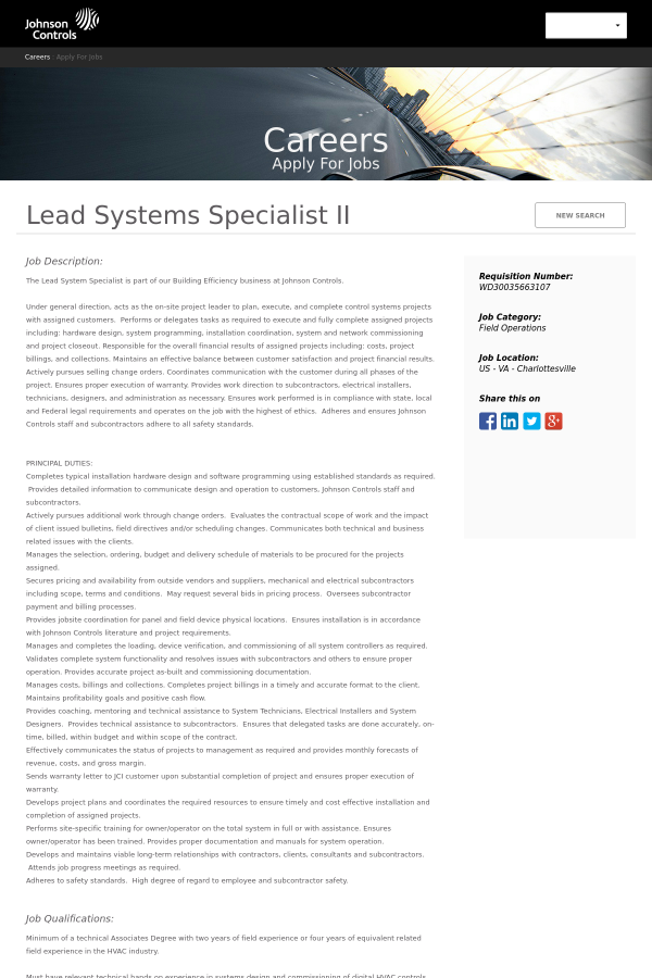 Lead Systems Specialist II job at Johnson Controls in ...