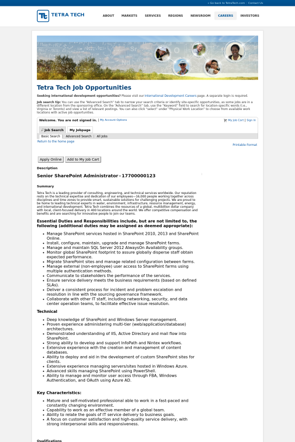 tetra sharepoint administrator job description - Sharepoint Administrator Duties