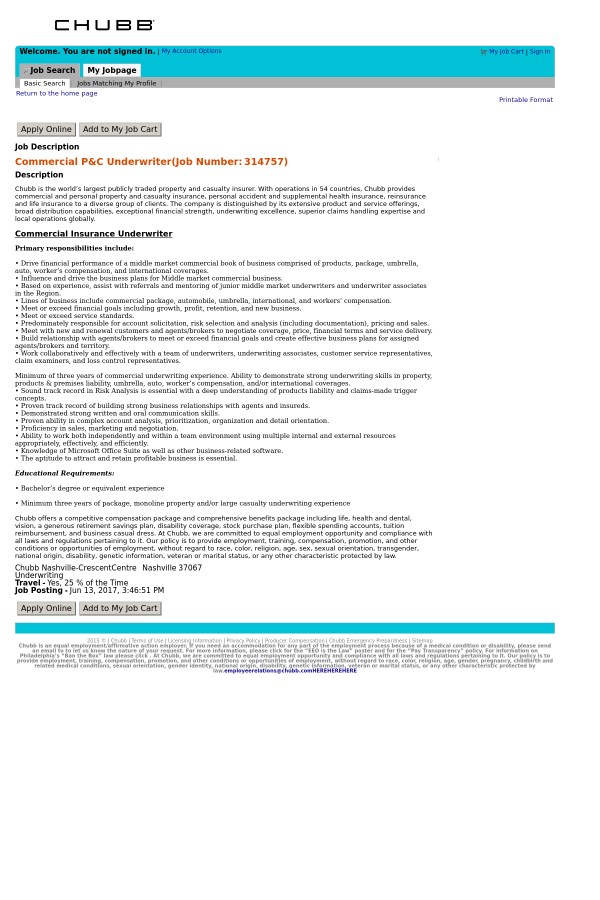 Commercial P&C Underwriter job at ACE Group in Nashville, TN ...