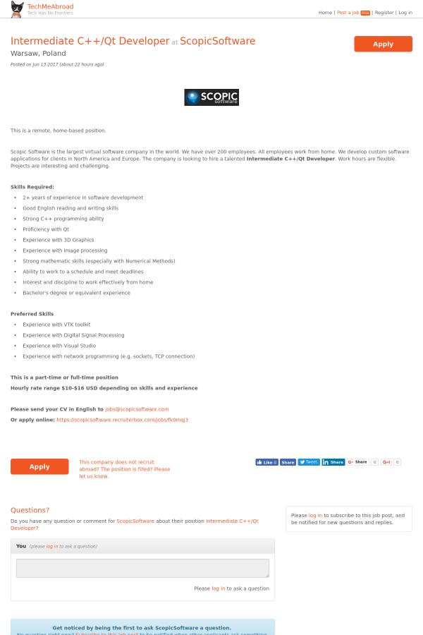 Intermediate C++ / QT Developer job at ScopicSoftware in
