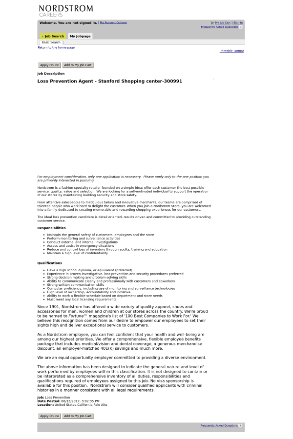 Loss Prevention Agent Stanford Shopping Center job at Nordstrom – Loss Prevention Responsibilities