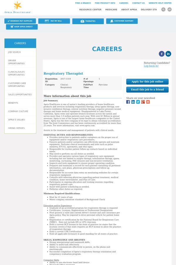 Respiratory Therapist job at Apria Healthcare Group in Saint – Respiratory Therapist Job Description
