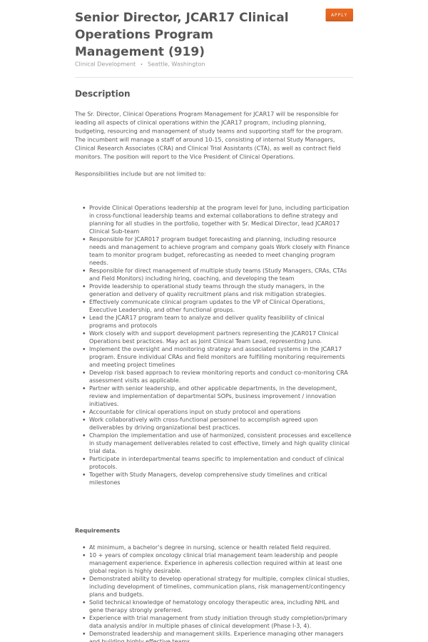 Senior Director Jcar17 Clinical Operations Program Management – Senior Director Job Description