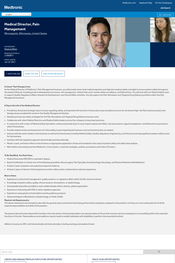 Medical Director Pain Management job at Medtronic in Minneapolis – Medical Director Job Description