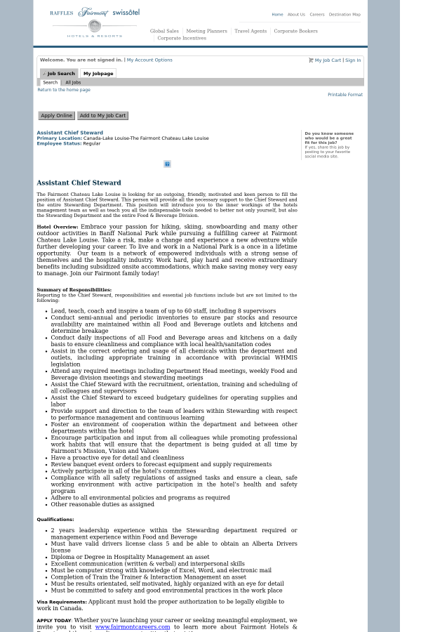 primary location - Chief Steward Resume