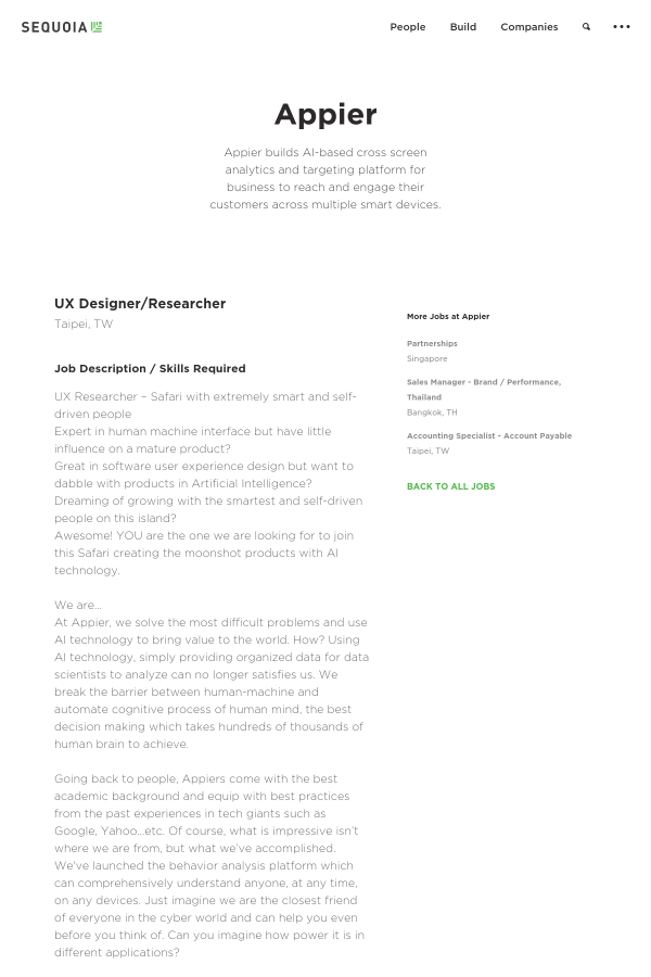 UX Designer Researcher job at Appier in Taipei Taiwan – Ux Designer Job Description
