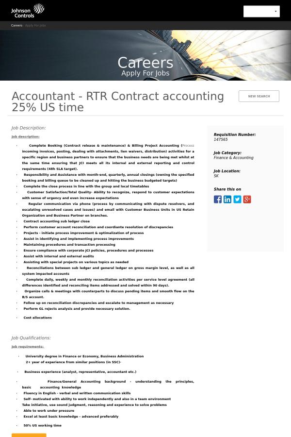 Accountant - RTR Contract Accounting 25 % US Time job at Johnson ...