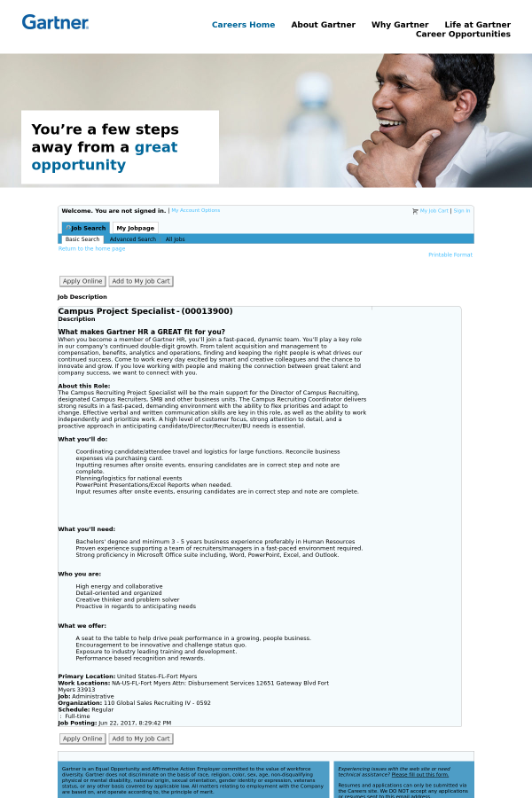 Campus Project Specialist job at Gartner in Fort Myers, FL ...