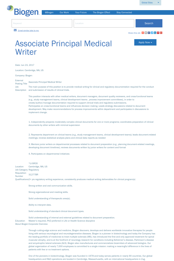 Associate Principal Medical Writer job at Biogen in Cambridge MA – Medical Writer Job Description