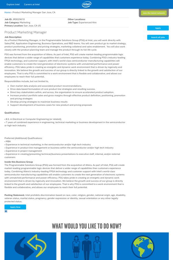 Product Marketing Manager job at Intel in San Jose, CA   Tapwage ...