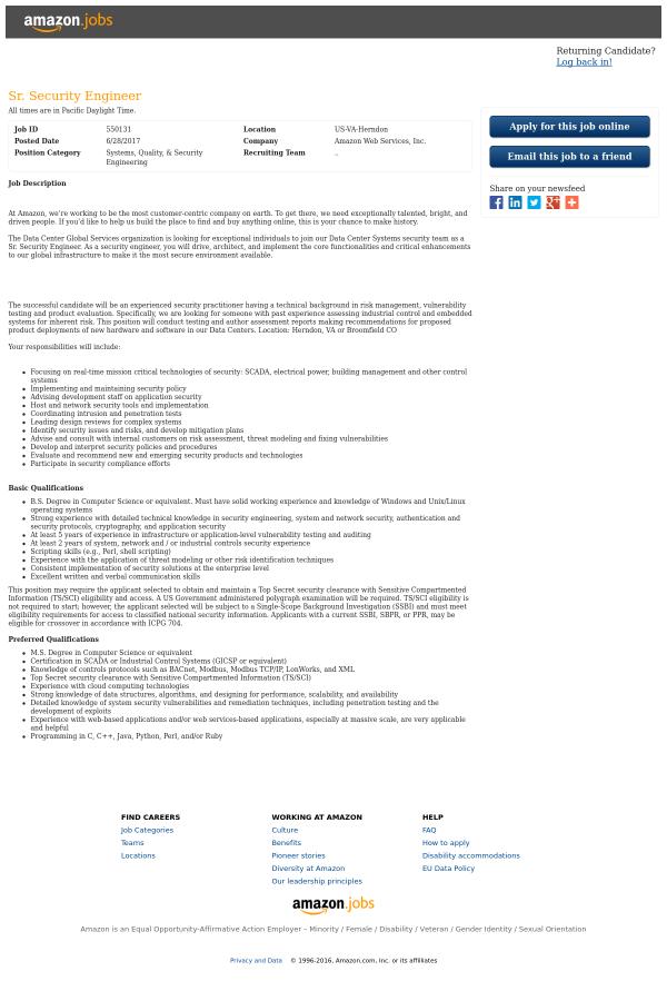 Senior Security Engineer job at Amazon in Herndon, VA - 7984045 ...