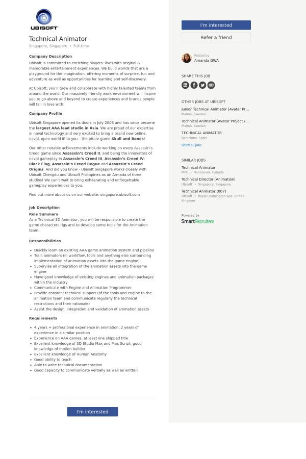 Technical Animator Job At Ubisoft In Singapore 8011077 Tapwage