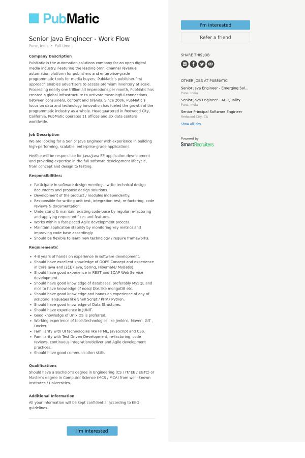 Senior Java Engineer - Work Flow job at PubMatic in Pune, India ...