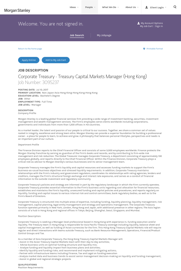 posting date - Job Description Treasury Manager