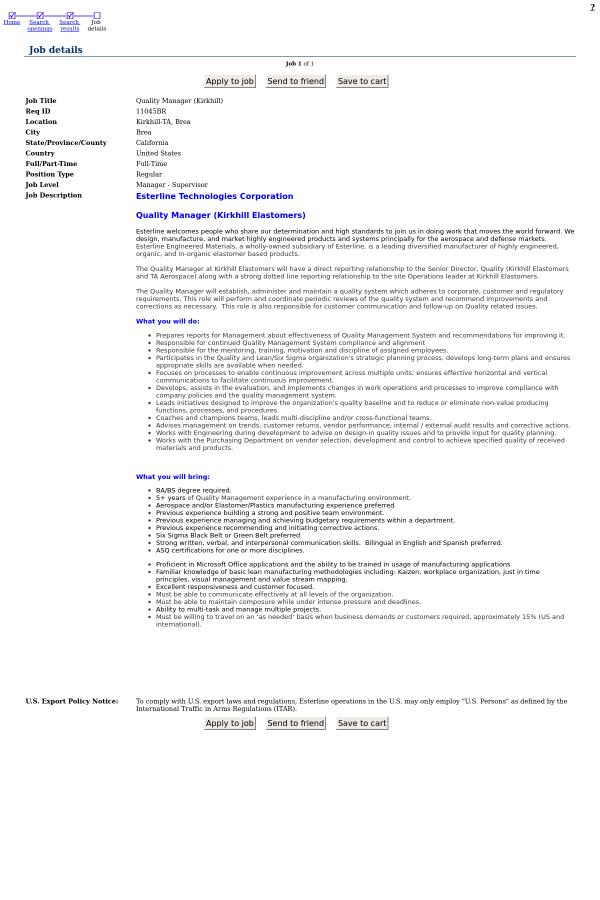 Quality Manager Kirkhill job at Esterline in Brea CA – Senior Director Job Description