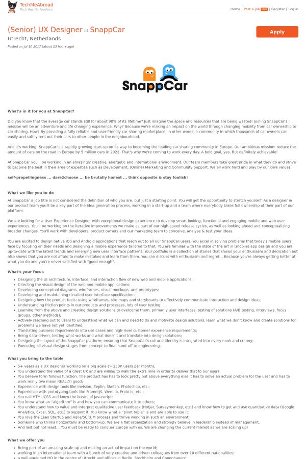 Senior Ux Designer Job At Snappcar In Utrecht Netherlands 8122055 Tapwage Job Search
