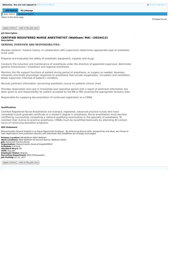 Certified Registered Nurse Anesthetist (Waltham / MA) job at