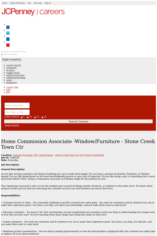 Home Commission Associate  Window/Furniture   Stone Creek ...