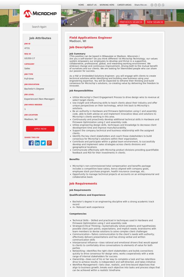 Field Applications Engineer job at Microchip in Madison WI – Application Engineer Job Description