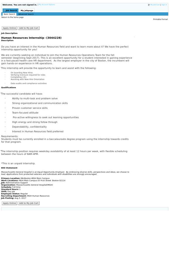 Human Resources Internship Job At Massachusetts General Hospital In
