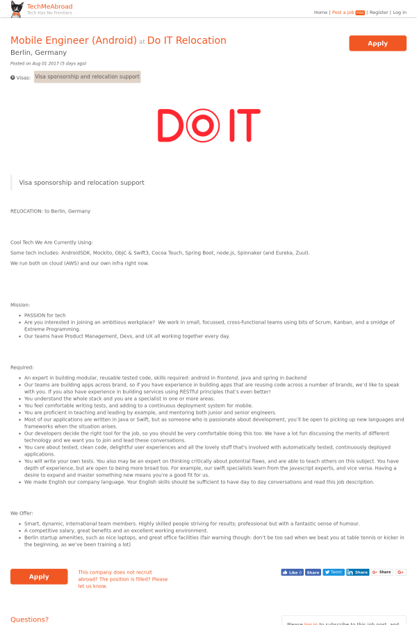 Mobile Engineer (Android) job at Do IT relocation in Berlin