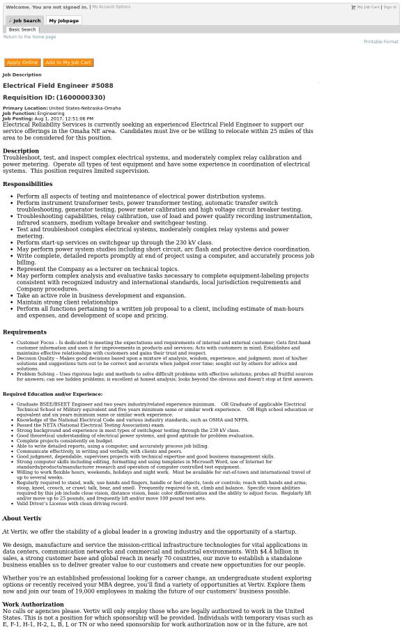 Electrical Field Engineer #5088 job at Vertiv in Omaha, NE - 8514472 ...