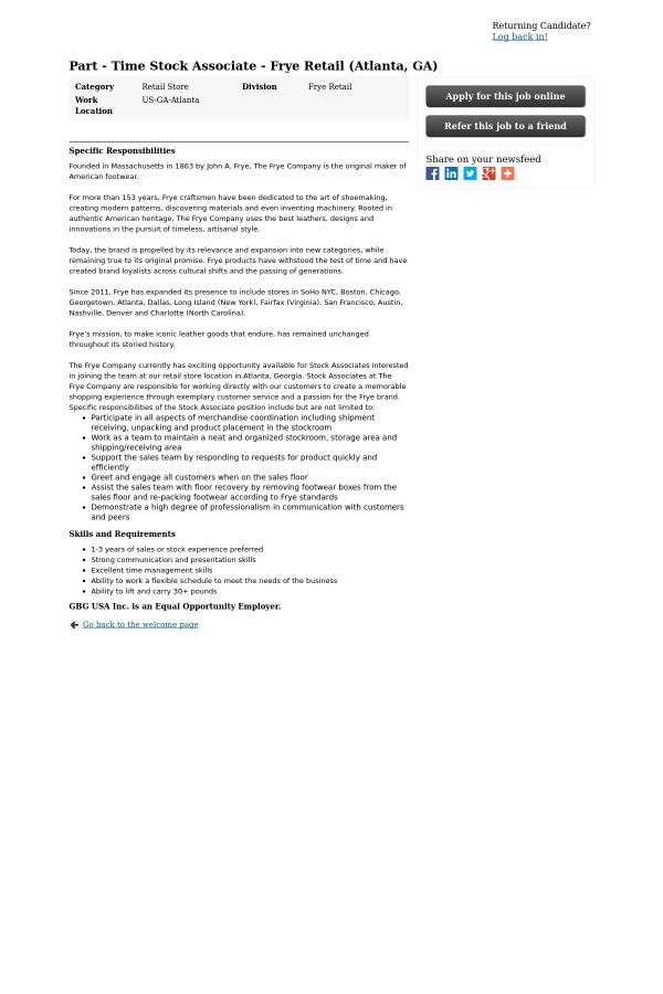 Stock Associate - Frye Retail (Atlanta, GA) job at Global Brands ...