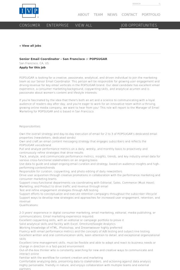 Senior Email Coordinator - San Francisco job at POPSUGAR in San ...