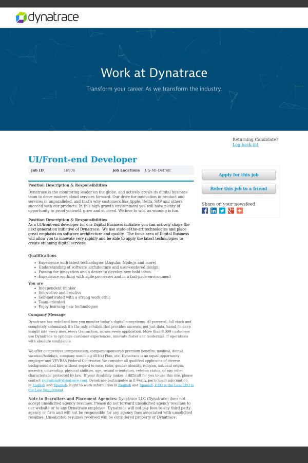 UI / Front-End Developer job at Dynatrace in Detroit, MI