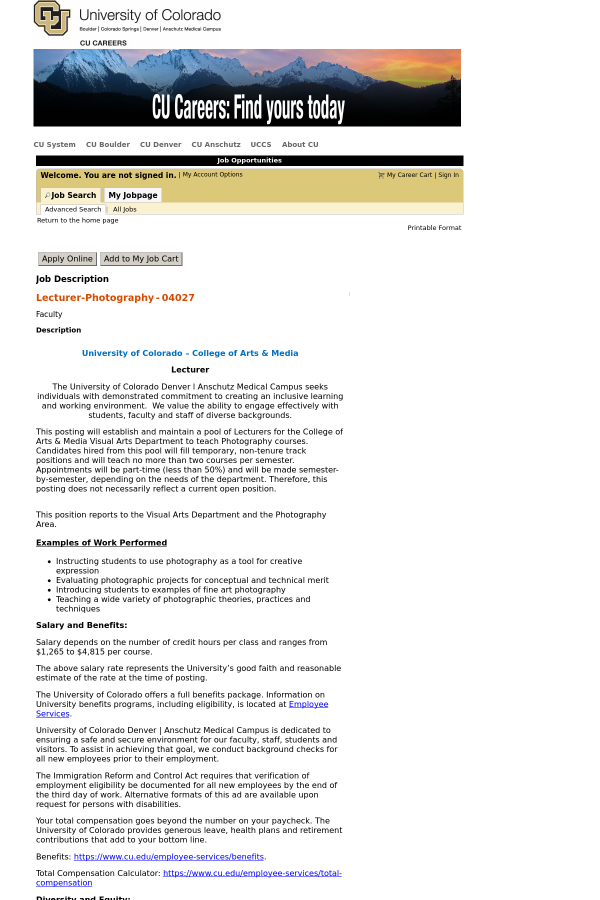 Lecturer - Photography job at University of Colorado in Denver, CO ...