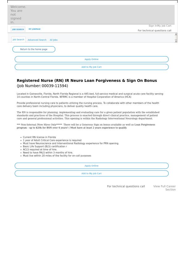 Registered Nurse Ir Neuro Loan Forgiveness Sign On Bonus Job At