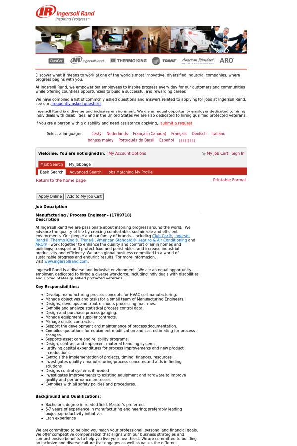 description - Manufacturing Engineering Job Description