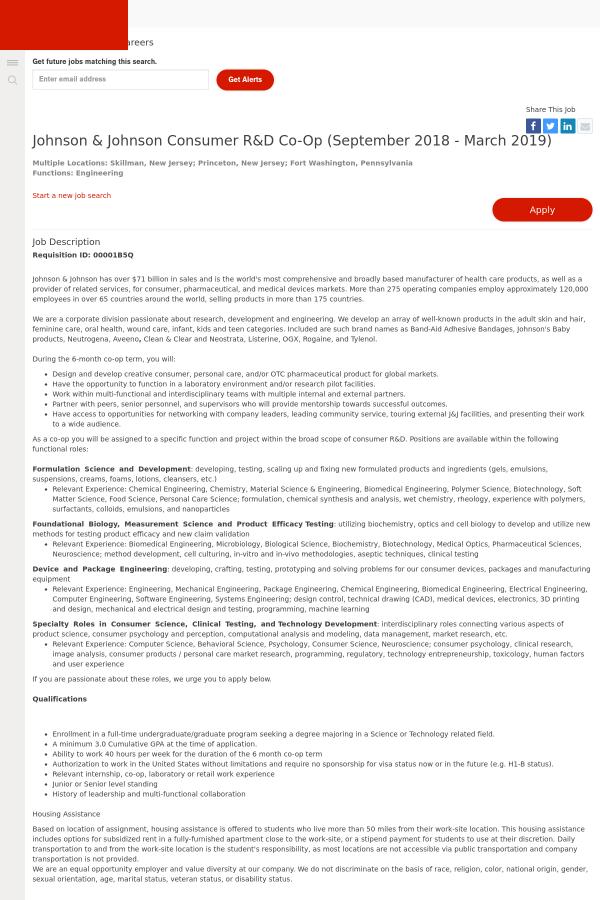 Johnson & Johnson Consumer R&D Co-op job at Johnson and Johnson in ...