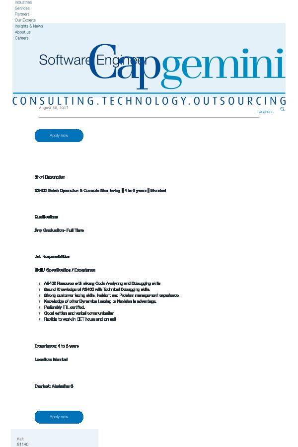 AS400 Batch Operation & Console Monitoring - 4 to 6 Years - Mumbai